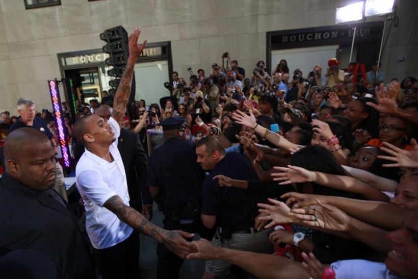 Singer Chris Brown greets fans