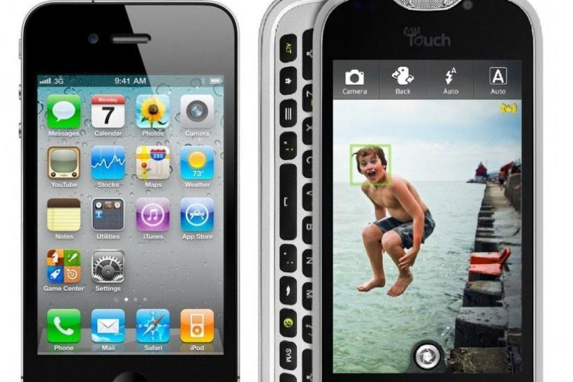 HTC myTouch 4G Slide (right) and iPhone 4