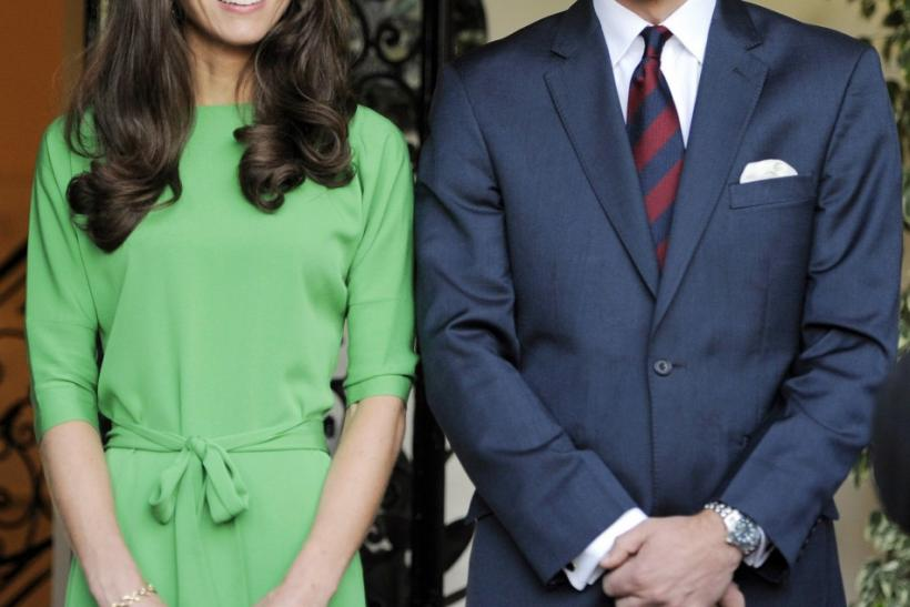 Britain's Prince William and his wife Kate Middleton, Duchess of Cambridge, attend a private reception at the British Consul-General's residence in Los Angeles