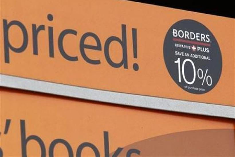 A sale sign is seen at a Borders bookstore in San Diego, California