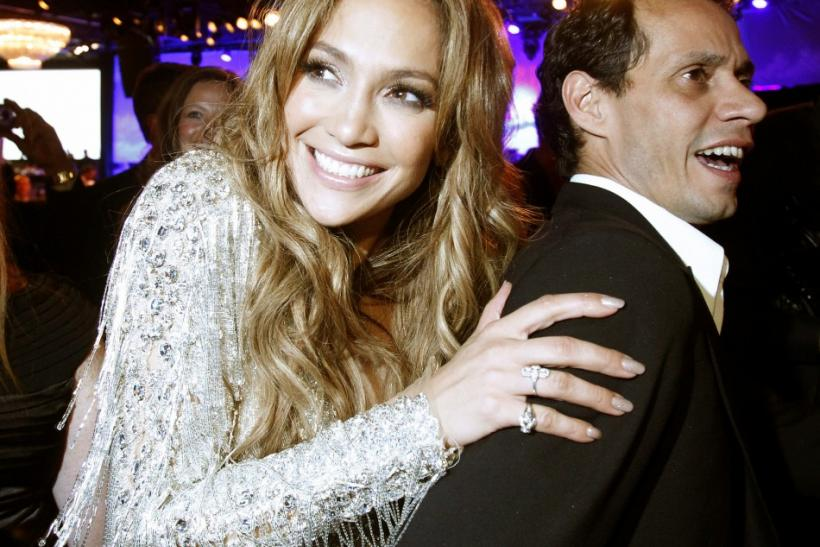 Performer Jennifer Lopez and her husband Marc Anthony