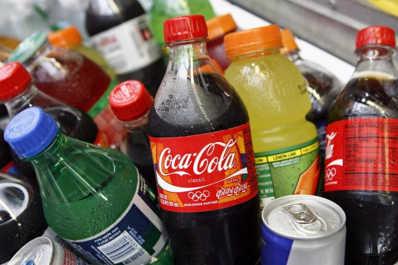 A Coca-Cola bottle is seen with other beverages in New York