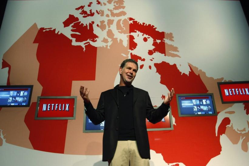 Netflix Chief Executive Officer Reed Hastings speaks during the launch of streaming internet subscription service for movies and TV shows in Canada at a news conference in Toronto