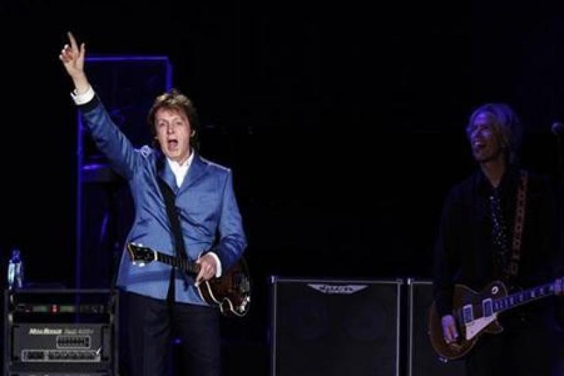 Paul McCartney performs during a concert at Yankee Stadium in New York