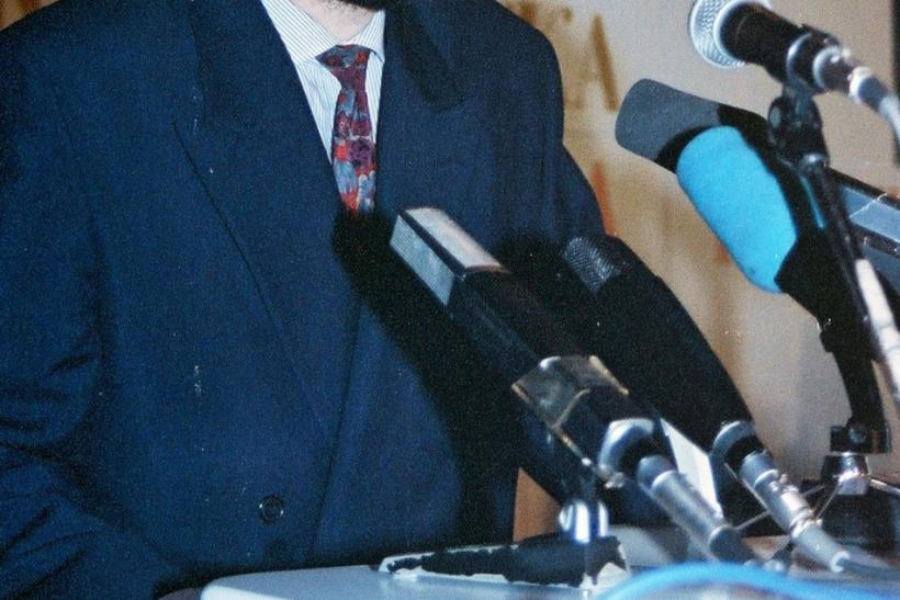 File photo of Hadzic speaking at joint session of Serb Republic of Krajina's and Bosnian Serb Republic in Bosanski Novi