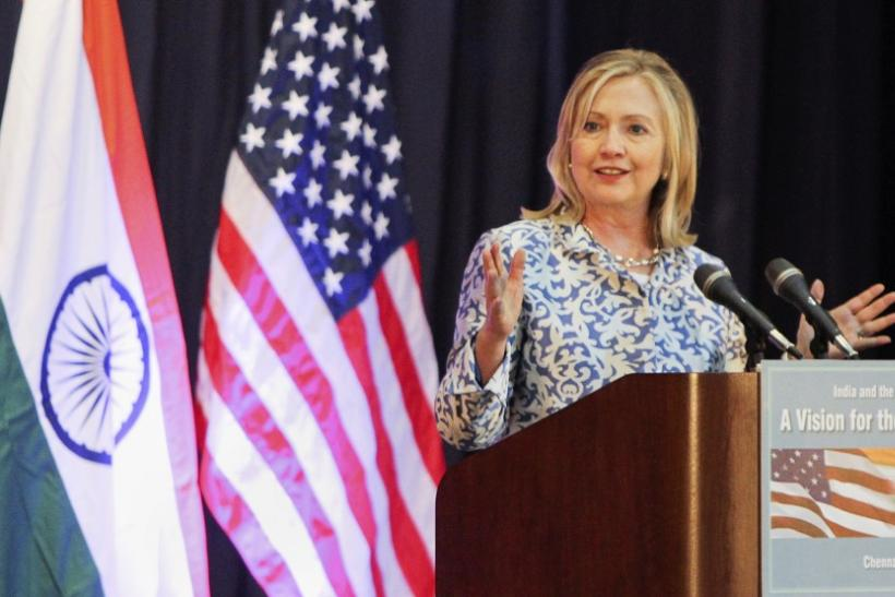 U.S. Secretary of State Clinton gives a lecture at Anna Centenary Library in Chennai