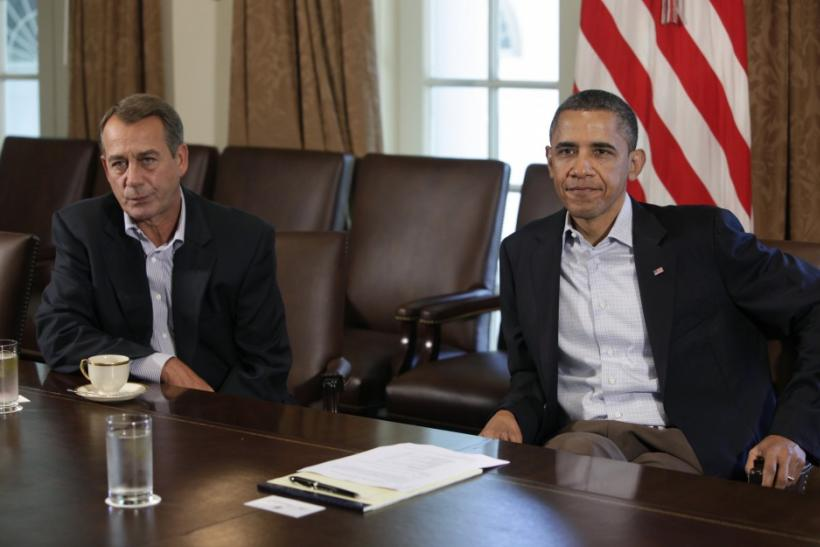 U.S. President Barack Obama (R) and House Speaker John Boehner (R-OH)