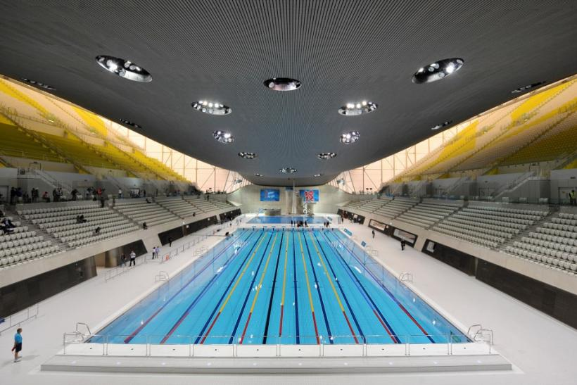The London 2012 Olympics Aquatics Centre is seen at the Olympic Park site, in east London