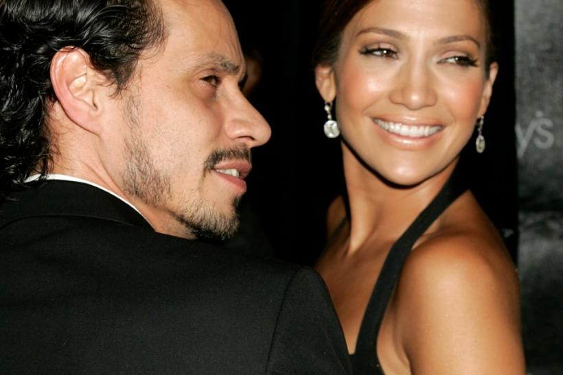 Actress and singer Jennifer Lopez and her husband arrive at the Macy's Passport 2005 fashion show in Santa Monica