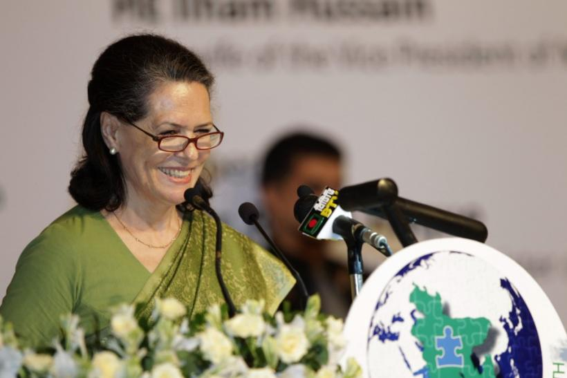 India's Congress Party chief Sonia Gandhi speaks during a conference on autism in Dhaka.
