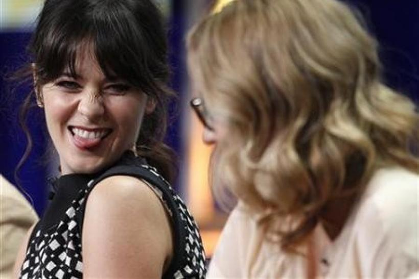 Actress Zooey Deschanel (L), star of the new comedy series ''The New Girl'', and Liz Meriwether, creator, writer and executive producer, take questions during a panel session at the FOX Summer TCA Press Tour in Beverly Hills, California