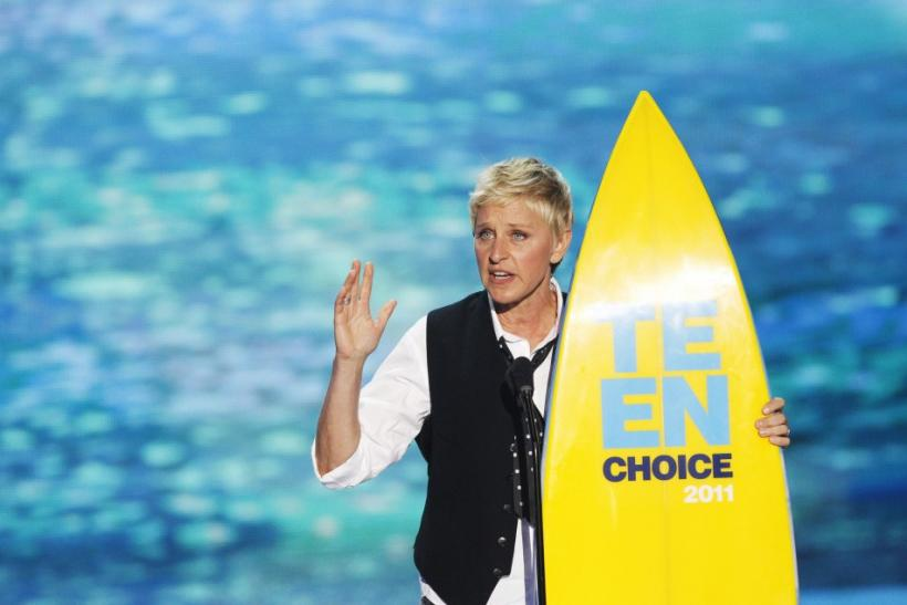 Comedian and talk show host Ellen DeGeneres speaks after receiving the Choice Comedian Award at the Teen Choice Awards at the Gibson amphitheater in Universal City, California