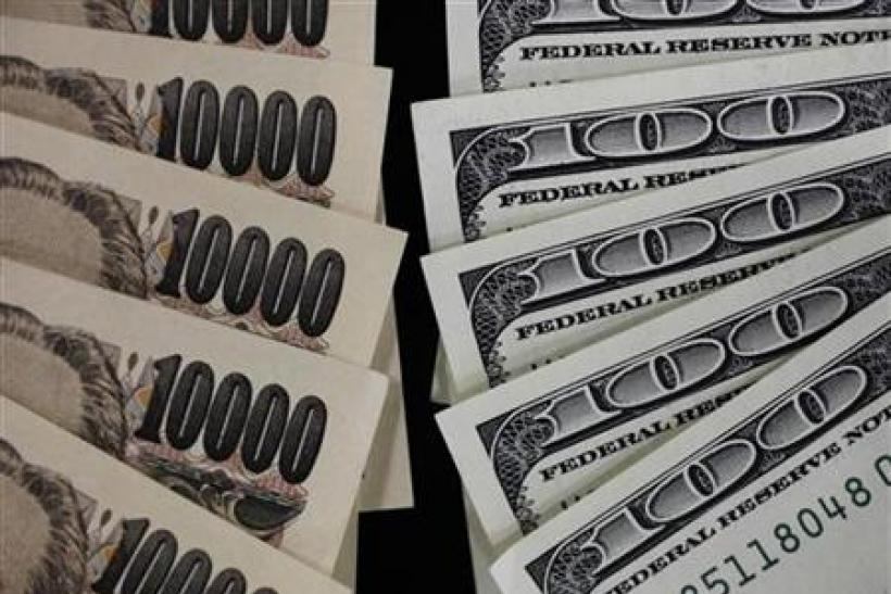 100 dollar bank notes and 10,000 yen notes.