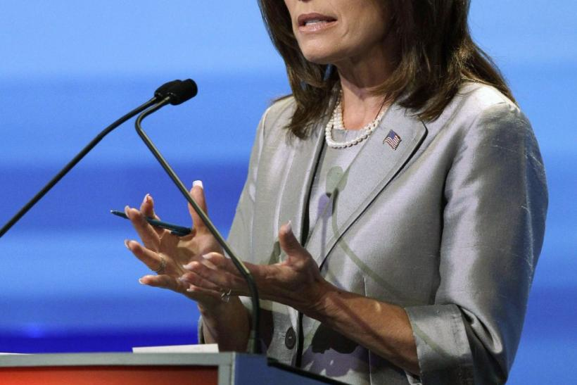 U.S. Republican presidential candidate Michele Bachmann speaks during the Republican presidential debate in Ames