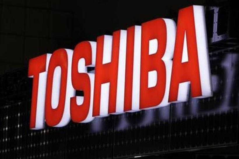 A view shows Toshiba Corp's logo at the fourth International Photovoltaic Power Generation (PV) Expo in Tokyo