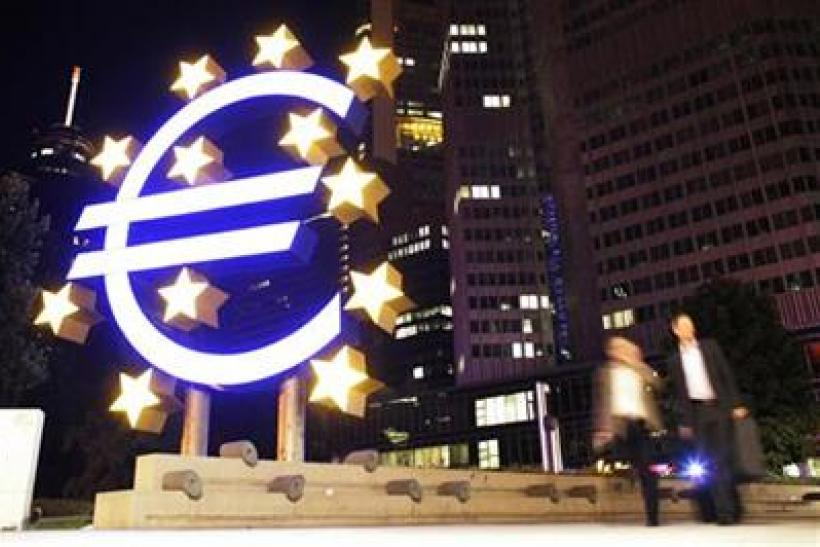 A sculpture showing the euro currency sign is seen in front of the European Central Bank headquarters in Frankfurt