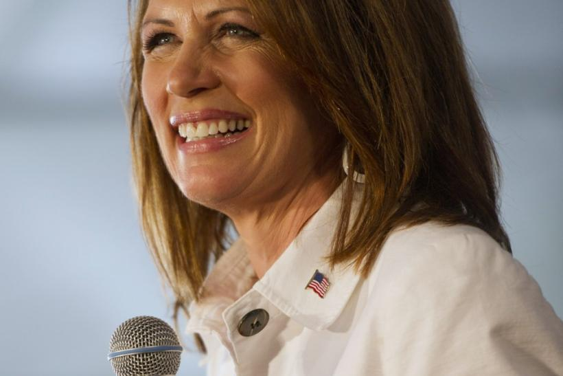 Republican U.S. presidential candidate Bachmann speaks during the Iowa straw poll in Ames