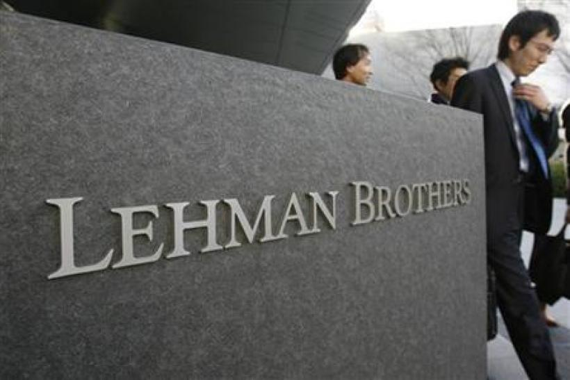 A logo of Lehman Brothers is seen outside its Asia headquarters in Tokyo