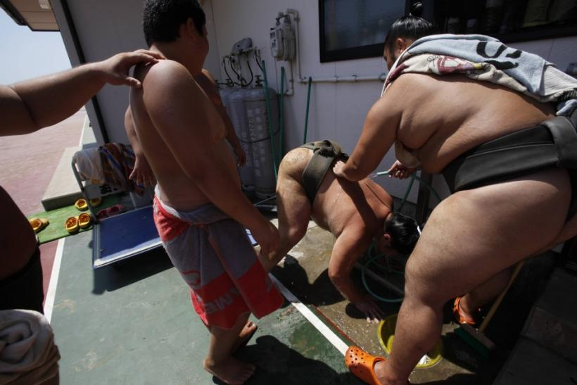 Japanese Sumo Wrestlers Back to Training After Deadly Earthquake Tsunami (PHOTOS)