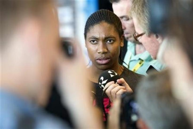 South African runner Caster Semenya talks to journalists during a news conference in Stockholm