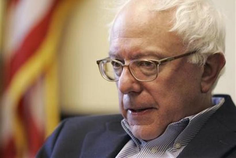 ator Bernie Sanders (I-VT) is interviewed by a Reuters reporter at Sanders' office in Burlington, Vermont