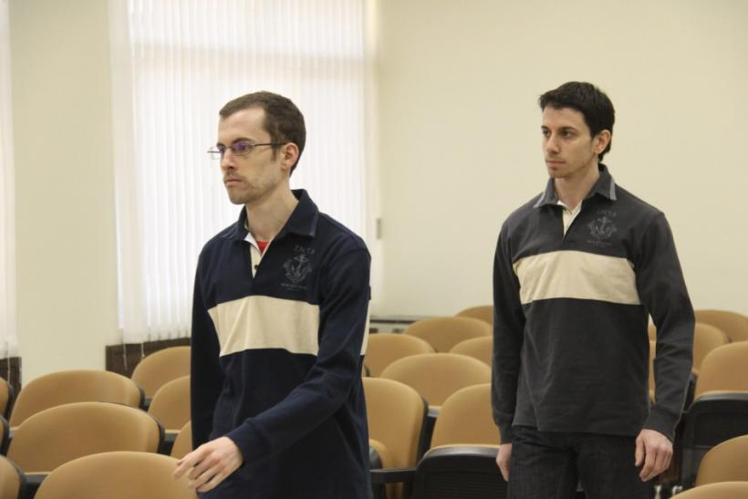American hikers Shane Bauer and Josh Fattal attend the first session of their trial in Tehran
