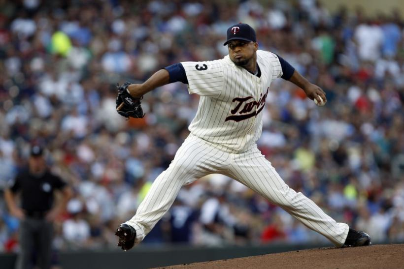 Minnesota Twins starting pitcher Francisco Liriano throws against the New York Yankees in Minneapolis