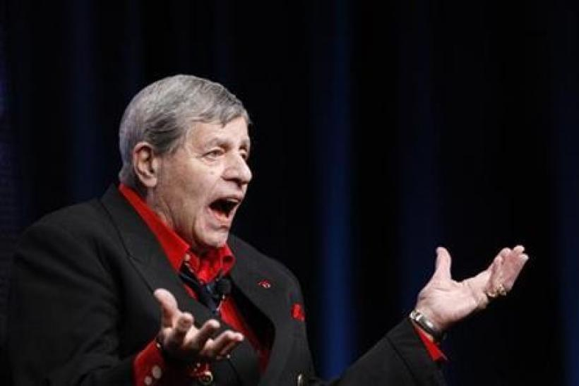 Actor and comedian Jerry Lewis takes questions from a reporter during the encore session for ''The Method to the Madness of Jerry Lewis'' at the Summer Television Critics Association Cable Press Tour in Beverly Hills, California