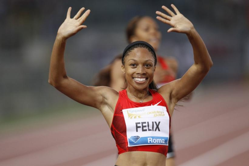 Felix of the U.S. celebrates after winning the women's 400 metres event at the Golden Gala IAAF Diamond League at the Olympic stadium in Rome