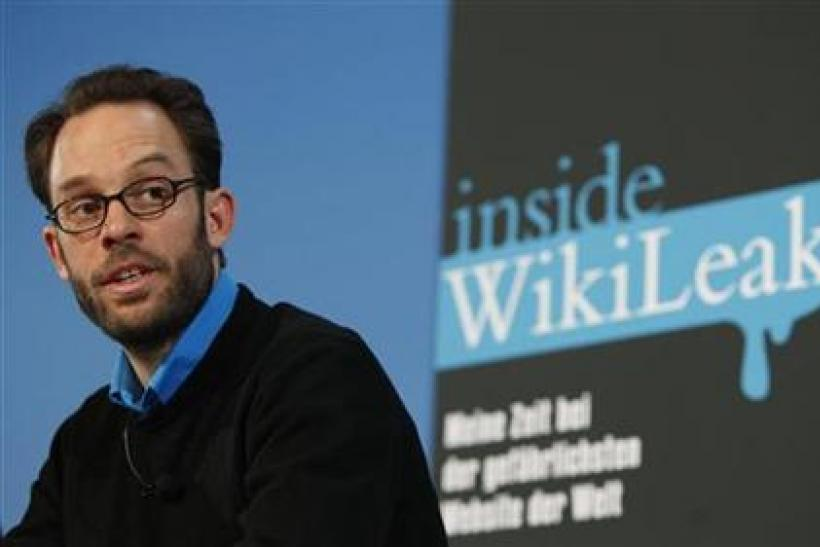 "IT-specialist former WikiLeaks members Domscheit-Berg speaks during news conference about his book ""Inside Wikileaks"" in Berlin"