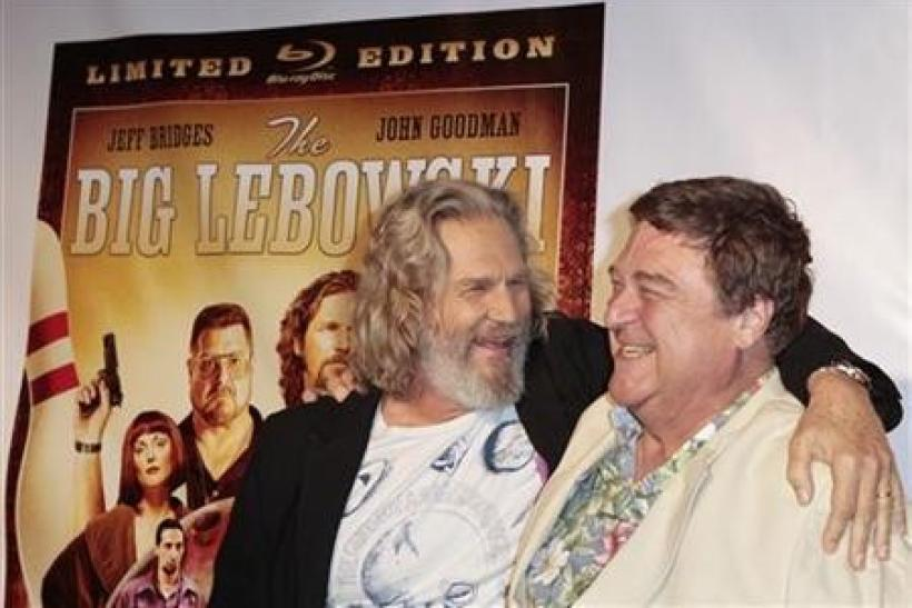 Cast members Jeff Bridges (L) and John Goodman arrive at an event celebrating the Blu-ray release of the film ''The Big Lebowski'' in New York