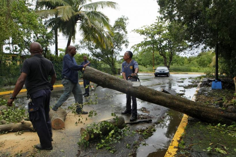 Emergencies management officials remove trees from a road after Hurricane Irene hit the municipality of Loiza