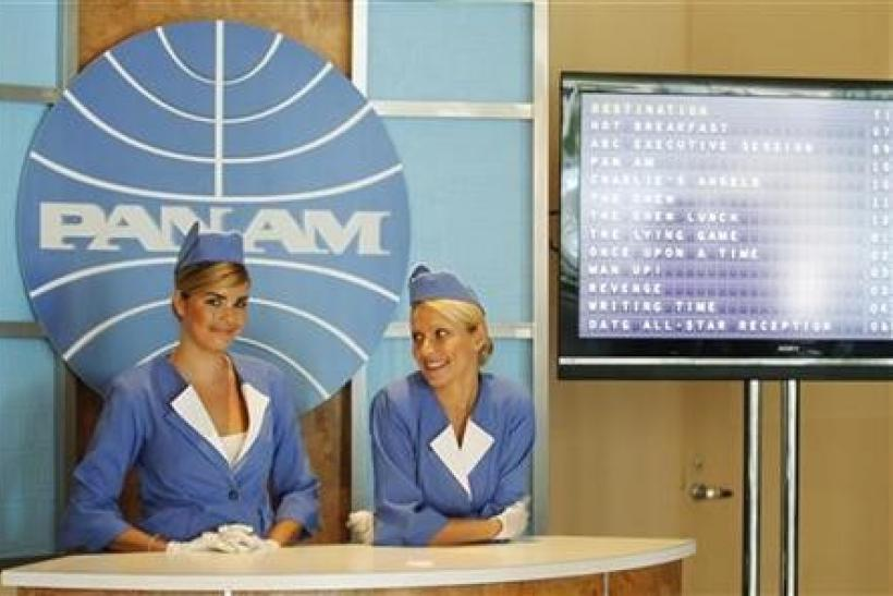 A booth set up to resemble a Pan American World Airlines (Pan Am) ticket counter promotes the new television series ''Pan Am'' at the ABC Summer TCA Press Tour in Beverly Hills