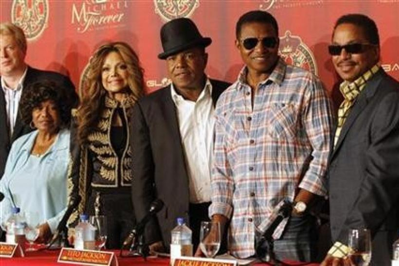 Katherine Jackson with her children La Toya, Tito, Jackie and Marlon attend a news conference to announce a tribute concert for the 40th anniversary of the late Michael Jackson's career in Beverly Hills