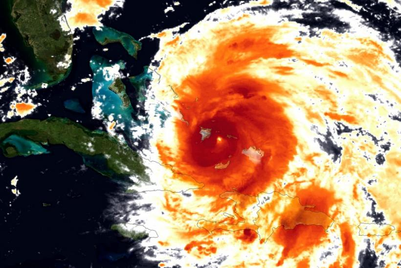 Handout image courtesy of NOAA shows a colorized infrared view of Hurricane Irene captured by the GOES-East satellite