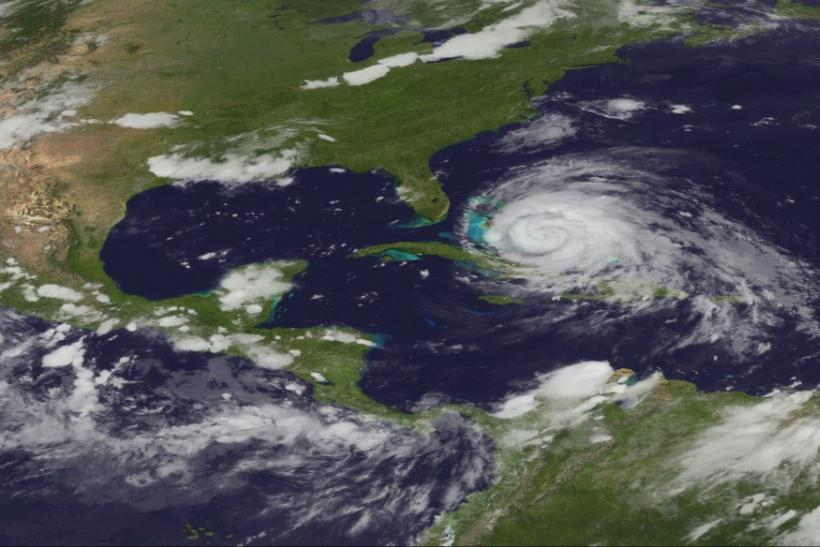 Handout image courtesy of NOAA shows a visible view of Hurricane Irene captured by the GOES-East satellite