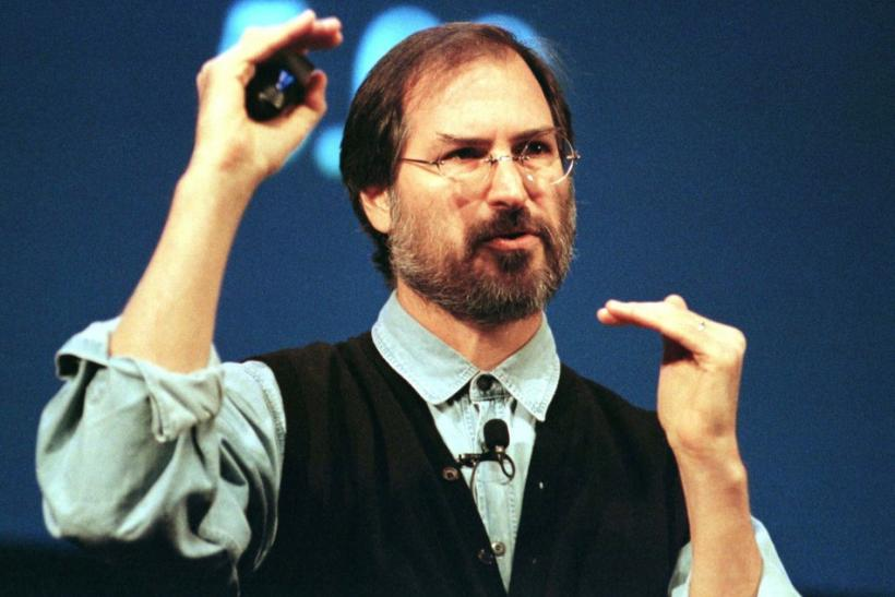 Acting Apple CEO Steve Jobs talks during a presentation of Apple's new G3 line of Macintoshes and PowerBooks at the Flint Center in Cupertino