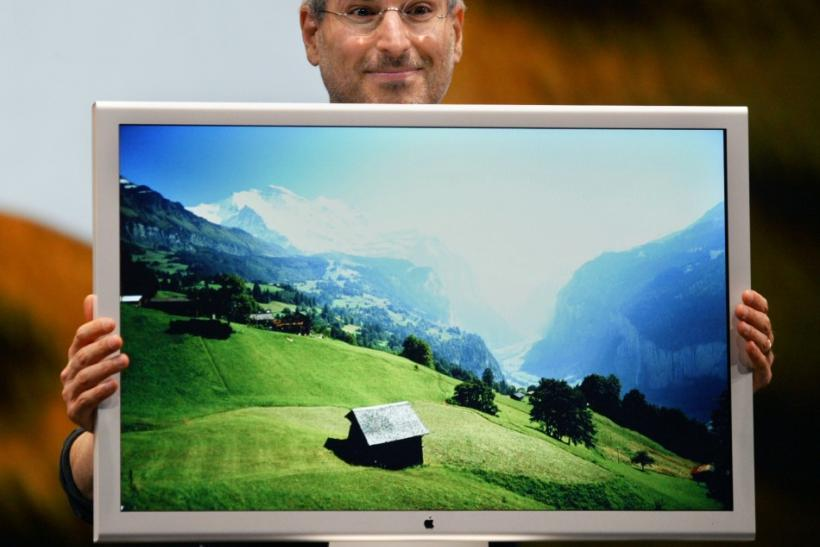 Chief Executive Steve Jobs previewing the latest version of its Mac OS X operating system code-named called Tiger in San Francisco, California
