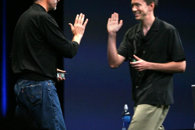 "Apple Corporation Chief Executive Officer Steve Jobs (L) greets Apple Vice-President Scott Forstall during the presentation of their new operating system, OS 10.5 ""Leopard"" at the Apple 2006 Worldwide Development Conference at the Moscone Center"