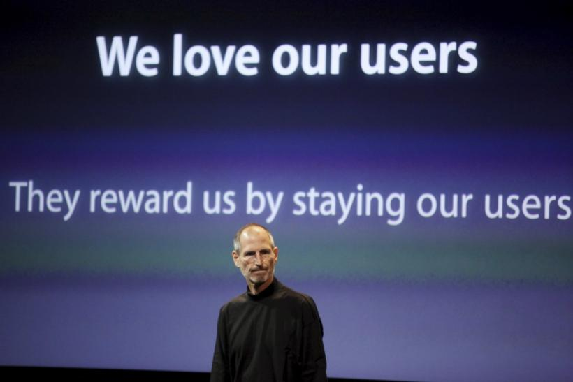 Apple CEO Steve Jobs appears on stage during a news conference at Apple headquarters in Cupertino, California