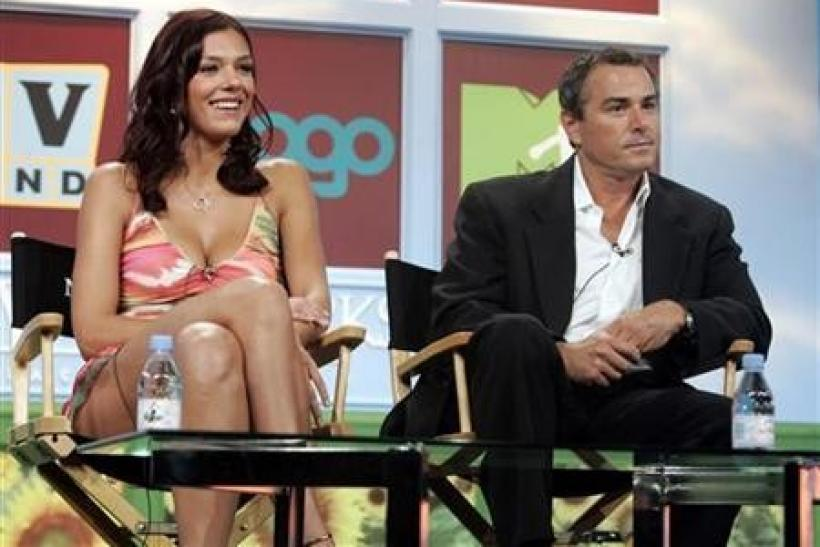 Christopher Knight and Adrianne Curry attend a session of Television Critic's Association Summer press tour in Beverly Hills