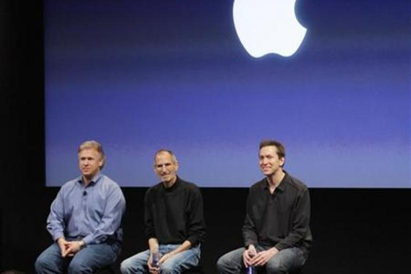 Philip Schiller, Steve Jobs and Scott Forstall sit during a Q&A session at the end of the iPhone OS4 special event at Apple headquarters in Cupertino