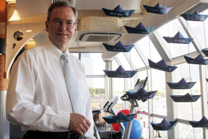 Google CEO Eric Schmidt poses during an interview with Reuters at Google's headquarters in Buenos Aires