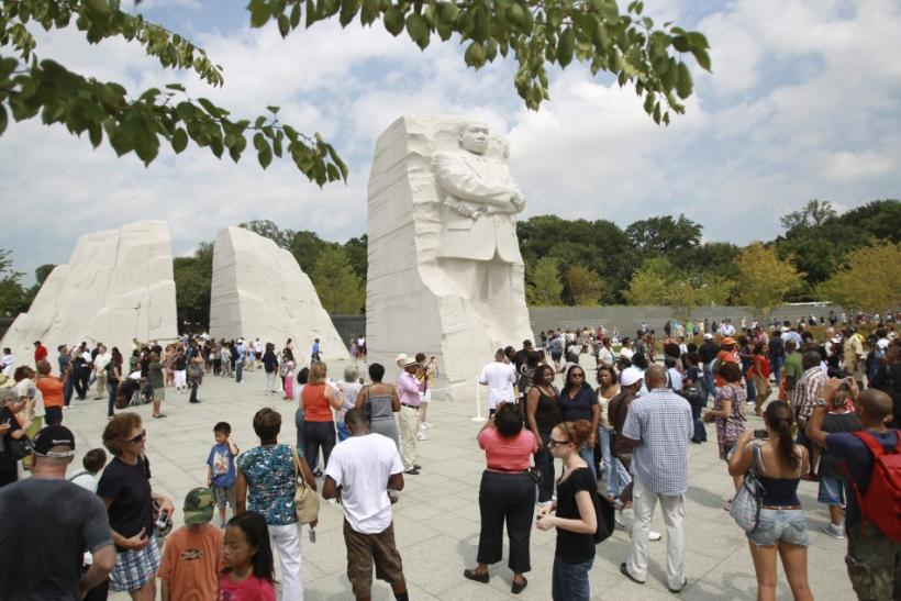 Visitors gather around the Martin Luther King, Jr. National Memorial in Washington
