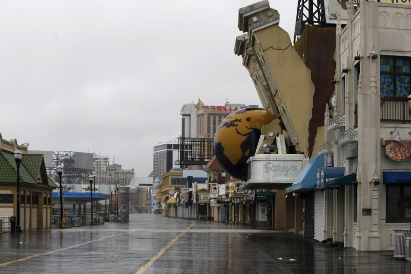 The boardwalk at Atlantic City is deserted as the first rains from Hurricane Irene hit the New Jersey Shore