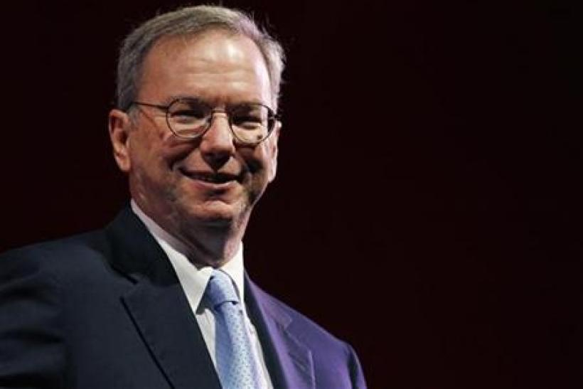 Google Chairman Schmidt smiles during a rehearsal of his MacTaggart lecture speech for the Edinburgh International Television Festival in Edinburgh, Scotland