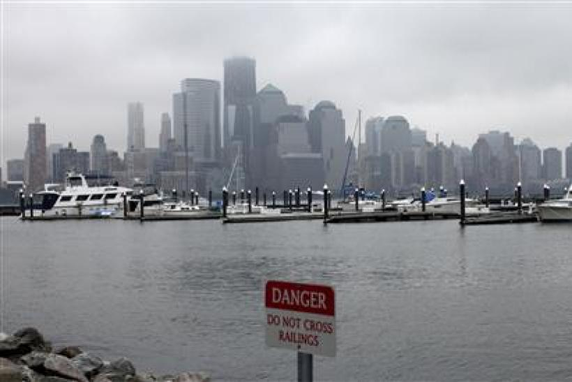 General view of Manhattan is seen as Hurricane Irene approaches New Jersey, New York