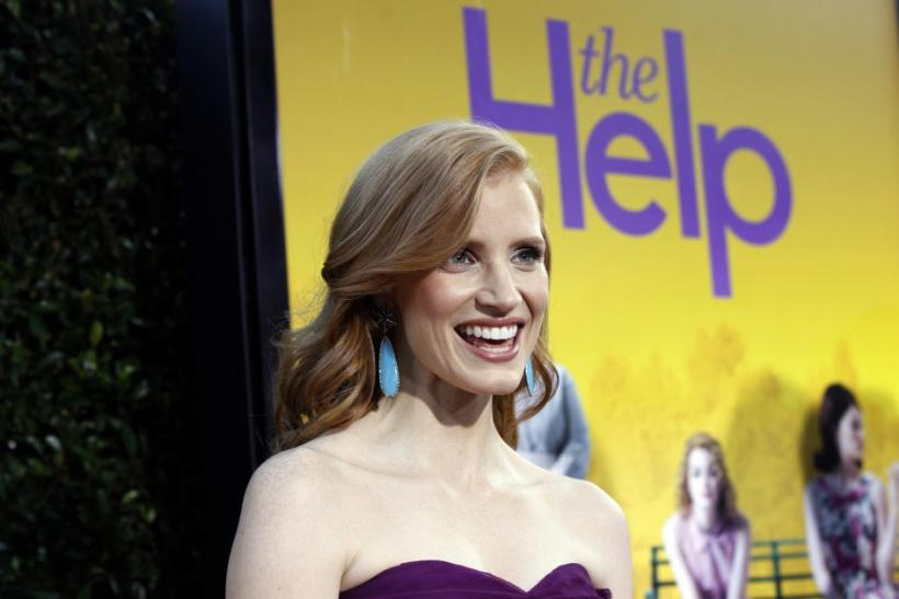 "Chastain poses at the premiere of the movie ""The Help"" at the Samuel Goldwyn Theatre in Beverly Hills"