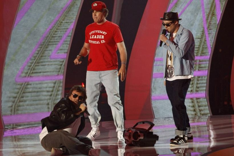 Actors Jack Black (L), Will Ferrell and Seth Rogen (R) perform as Beastie Boys from the future at the 2011 MTV Video Music Awards in Los Angeles, August 28, 2011.