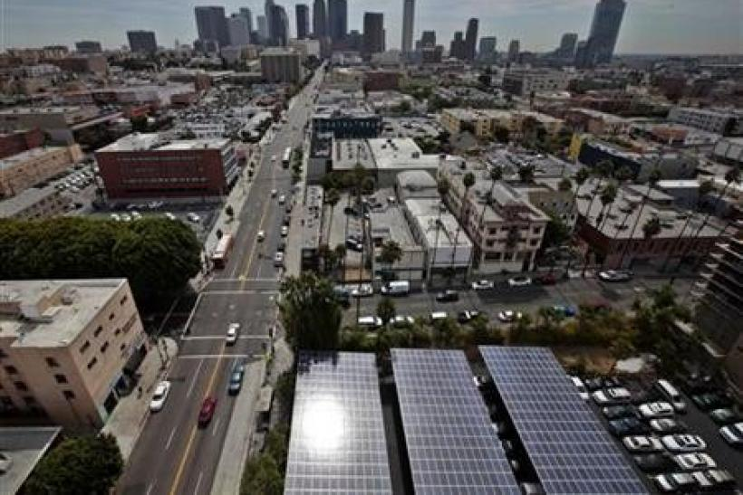 Solar panels are seen in the parking lot of 1929 building Walter J Towers, near downtown Los Angeles, California